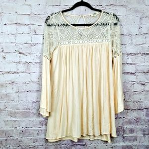 COPY - UMGEE USA Cream Lace Boho Peasant tunic top